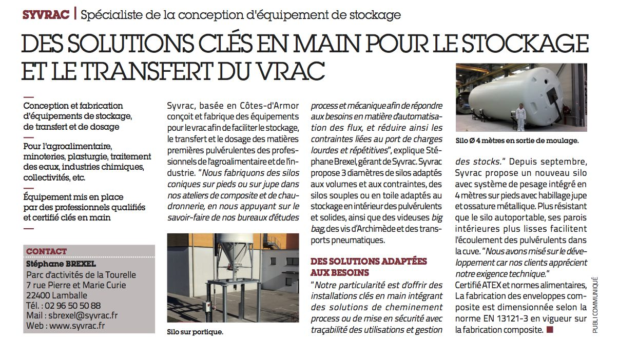 Article Usine Nouvelle - Dossier Agroalimentaire 2016